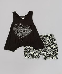 Love this Black 'Love' Tank & Floral Shorts by Lori & Jane on #zulily! #zulilyfinds
