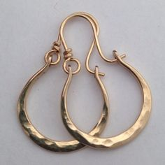 Artisan Made Hammered Petite Gabriela Gold Filled Hoops Earrings , Metalwork Post Jewelry Gift for Woman