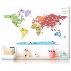 Adesivo de Parede Infantil Mapa Mundi -  MUNDO DISCOVERY