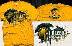 """I Bleed Green & Gold"" t-shirt design by DorarpolHendra Creative Inspiration, Design Inspiration, Gold T Shirts, Web Design Projects, Apparel Design, Men's Apparel, Graphic Design Services, Tee Design, Cool Tees"
