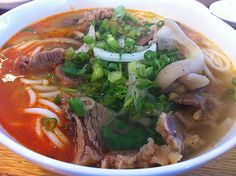 Bun Bo Hue, Vietnamese noodle soup originated from Central Vietnam with pork and beef, Vietnamese food