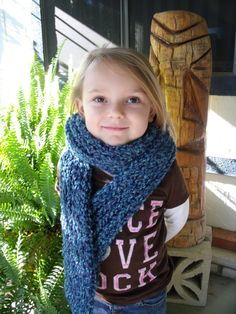 Handmade Knit Scarf Blue Extra Long Womens by SheilasBlessings