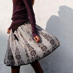 Vol de Nuit reversible jacquard Skirt. Etsy China.
