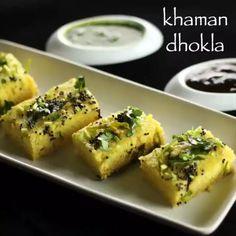 dhokla recipe step by step video / dhokla recipe Easy Samosa Recipes, Aloo Recipes, Paratha Recipes, Spicy Recipes, Cooking Recipes, Khandvi Recipe, Dhokla Recipe, Vegetarian Snacks, Savory Snacks