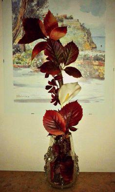 automn composition vase crystal callas feuilles red brown arrangiament