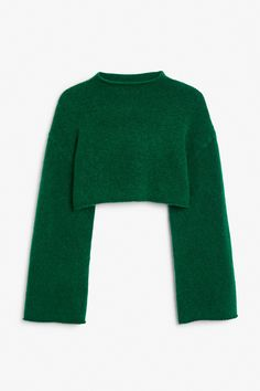 Cropped wool-blended bell sleeve sweater in Green Dark