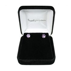 Real Amethyst faceted gemstone round stud earrings in velvet box beautiful gift for her on SALE only $33 on #etsy sister present daughter gift friend earrings birthstone jewelry