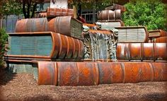 Book waterfall sculpture in front of a library in Cincinnati, Ohio