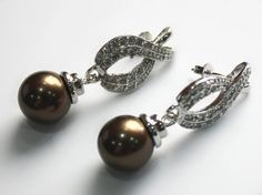 jewerly Selling > latest fashion lady's beautiful silver plated leave shape +12mm brown shell pearl bread e