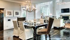 Dinner time! Mixing chair styles is key to this elegant room design! Interior done by Michael Stribling Interiors! Houston, Texas.