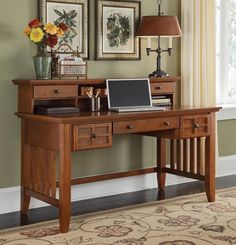 Home Styles Arts and Crafts Executive Desk and Hutch - click to enlarge