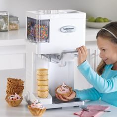 Make professional-quality soft ice cream, yogurt, sorbet, and sherbet right at home with this fully automatic, soft-serve ice-cream maker.