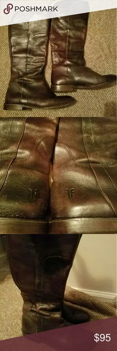 FLASH SALE!Dark Brown Frye Paige Tall Riding Boots These beautiful boots have lots of life left!!  This is unfortunately a reposh. I have skinny calfs 13in. these boots have a 15in. Circumference and the gap is very noticeable on my skinny legs. I just tried on and figured they were not for me..  Give these beauties a new life!! No trades Frye Shoes Combat & Moto Boots