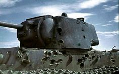 The Russian KV1 tanks were so heavily armoured that German tanks could only confront them at point blank range.