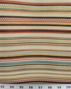 """A jacquard stripe with mini-squares adds a fun and festive touch to your decor. Pattern is railroaded. Colors include gold, peacock blue, tomato red, sage green, chocolate brown and ivory. Think upholstery, duvets, pillows, draperies and more.  Repeats: 3/16"""" Horizontal x 10-1/4"""" Vertical  !4.98"""