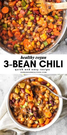 This hearty vegan chili is perfect for weeknights when you don't feel like doing much more than opening a can of beans. Vegan 3 Bean Chili Vegan Chili - easy to make for a healthy weeknight dinner! Vegan 3 Bean Chili, 3 Bean Chili Recipe, Vegetarian Chili Easy, Healthy Chili, Veggie Chili, No Bean Chili, Vegetarian Recipes, Healthy Recipes, Vegan Bean Recipes