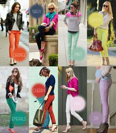 hot outfits!!! with colored skinnies! <3