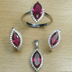 Marquise Cut Ruby Pink White CZ 925 Sterling Silver Cocktail Jewelry Set