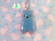 Fairy Kei Kawaii Alpaca Necklace  Blue and Pink by SammysJewels