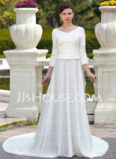 Vestidos princesa/ Formato A Decote redondo Cauda capela cetim Vestido de noiva com Bordado Bordado (002012641) - JJsHouse