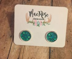 Turquoise Sparkle 10mm Studs