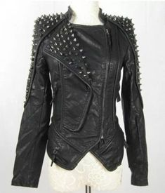 Womens Punk Spike Studded Shoulder Leather Jacket Coat Motorcycle Jacket