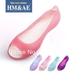 Mig hole shoes female sandals open toe shoes female beach crystal flat heel jelly shoes $16.00