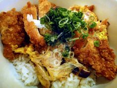 one of my fav dish! (Morimoto) Chicken katsu - panko crusted chicken, egg, carmelized onions, dashi soy broth, steamed rice