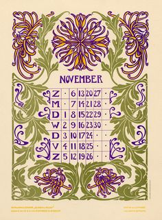 Anna Sipkema, illustrator (1877-1933). November. Bloem en blad (Flower and leaf). 1904. Dutch calendar.