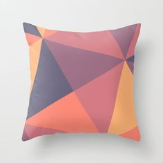 "Orange Geometric Shapes Squares Triangle Throw Pillow Cover Pillowcase 40x40 cm / 16""x16"""