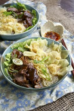 PRAWN WONTON AND BEEF NOODLE SOUP