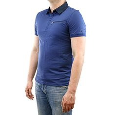 Calvin Klein Mens Jersey with Woven Collar Polo, Blue Lake, Small