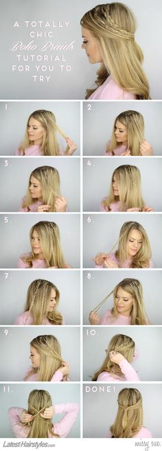 How to do a Half-up Half-down Boho Braid