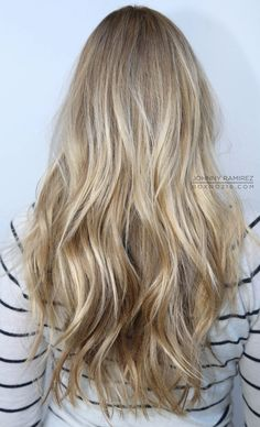 long layers with beachy waves . color and cut . via Box No. 216