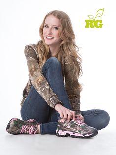 Most Popular Camo Trends = Realtree Girl Camo Hoodie + RG Denim Jean +  #RealtreeGirl Camo Tennis Shoes