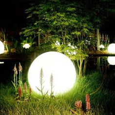 led orb ball lighting Remote Controlled color changing rechargeable IP68 waterproof glowing decorative garden led sphere & 25 Beautiful DIY Outdoor Lights and Creative Lighting Design Ideas ...