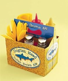 50 All-Time Favorite New Uses for Old Things Drink Carrier as Condiment Kit Cart condiments to a backyard barbecue. Slot flatware, ketchup and mustard in the compartments for easy transport. Miller Lite, Condiment Holder, Utensil Holder, Silverware Holder, Cutlery Caddy, Menu Holders, Bbq Party, Tailgate Parties, Football Parties