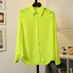 new loose fluorescent color dot point collar chiffon long sleeve shirt E24-3#