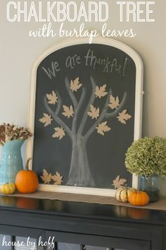 Chalkboard Thankful Tree with Burlap Leaves from House by Hoff - seriously one of the cutest Thanksgiving projects I've ever seen!