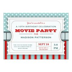 Movie Birthday Invitations Movie Ticket Party Birthday Party Admission Ticket Card