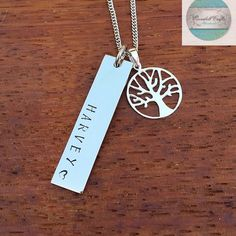 Rectangle Names necklace Silver Sterling Tree of Life Charm, Customised with Own Names. Family Necklace Hand Stamped / Engraved by CoorabellCrafts on Etsy Name Necklace Silver, Bar Necklace, Dog Tag Necklace, Gifts For Mum, Mother Gifts, Unique Gifts, Great Gifts, Family Necklace, Love Stamps