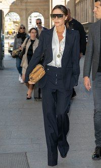 - Photo 1 - Victoria Beckham's tailored suits are the perfect formula for street style success. Here is how to get her timeless looks for less. Signature Look, Victoria Beckham Style, Tailored Suits, Black Suits, Work Blouse, Well Dressed, Summer Outfits, Summer Clothes, Summer Clothing