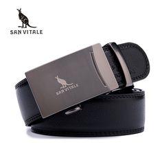 SAN VITALE Genuine Leather Belts for Men Luxury Brand Designer Strap Male Automatic Buckle Fancy Vintage Jeans Cintos Masculinos