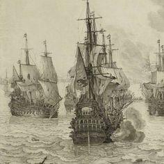 De zeeslag bij Livorno, 14 maart 1653: episode uit de Eerste Engelse Zeeoorlog (1652-54), Willem van de Velde (I), ca. 1659 - ca. 1699 - Willem van de Velde I - Artists - Explore the collection - Rijksmuseum