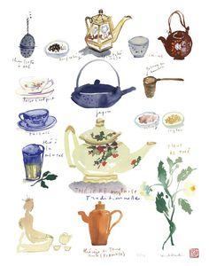 Tea poster, Kitchen decor, Watercolor, Blue, Home and Garden, Kitchen art, Teapot, Tea cup, Tea print. $25.00, via Etsy.