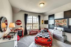 Car room with lots of fun details! Tag friends who   Via Gehan Homes... - Home Decor For Kids And Interior Design Ideas for Children, Toddler Room Ideas For Boys And Girls