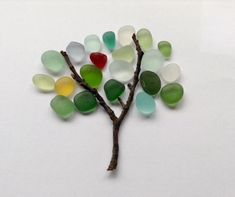 SEA GLASS TREE ART #seaglass