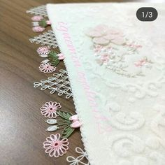 No photo description available. Pearl Embroidery, Crochet Needles, Lace Making, Baby Knitting Patterns, Needlework, Diy And Crafts, Sewing, Fabric, Model