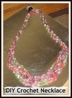 DIY Crochet Necklaces / How to make a crochet necklace/ DIY Scarf Necklace/ Crochet Ribbon Necklaces Knit Or Crochet, Bead Crochet, Crochet Crafts, Crochet Slippers, Crochet Projects, Free Crochet, Yarn Necklace, Ribbon Necklace, Beaded Necklaces