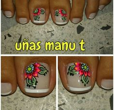 Uñas lindas Cute Toe Nails, Fancy Nails, Toe Nail Art, Pretty Nails, Cute Pedicure Designs, Toe Nail Designs, Summer Toe Designs, Hair And Nails, My Nails